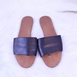 Madewell Anais Black Leather slidethong sandal 8.5